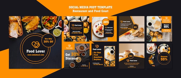 Modern instagram posts template for breakfast restaurant