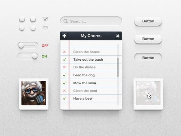 Современный интерфейс с кнопками и картины