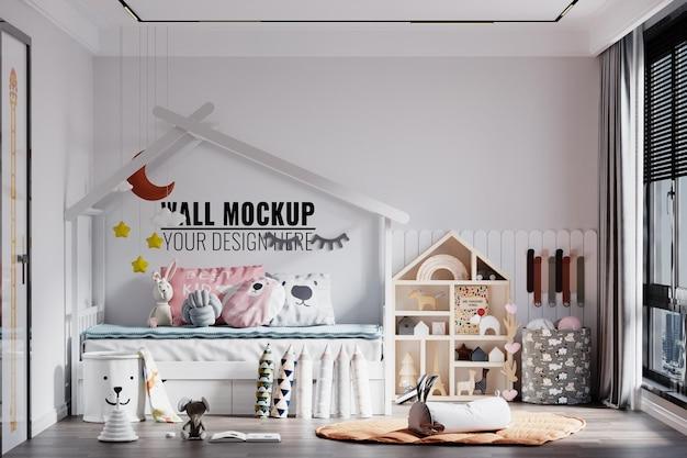モダンインテリア子供寝室の壁のモックアップ