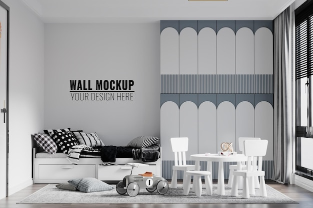 Современный интерьер детской спальни стены макет