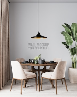 Modern interior dining room wall mockup with brown chairs and plants