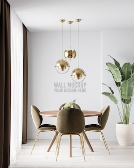 Modern interior dining room wall mockup with dark brown chairsm