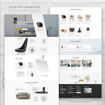 Modern interior e-commerce website landing page