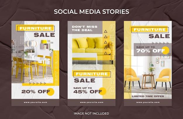 Modern interior furniture sale instagram stories social media template