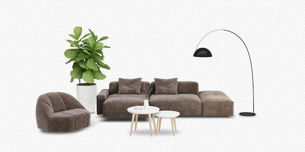 Modern interior furniture set in 3d rendering