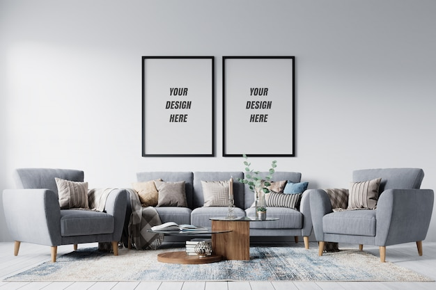 Modern interior living room frame and wall mockup