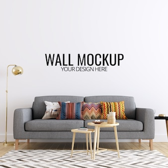 Modern interior living room wall mockup background