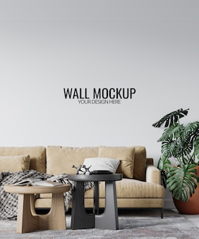 Modern interior living room wall mockup