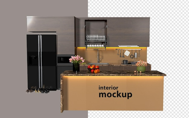 Modern interior mockup 3d rendering isolated