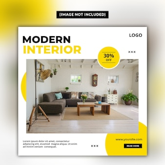 Modern interior social media post template
