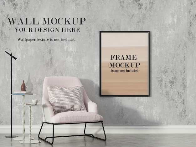 Modern interior wall and frame mockup