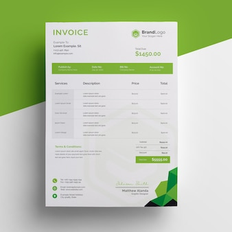 Modern invoice template design with green accent