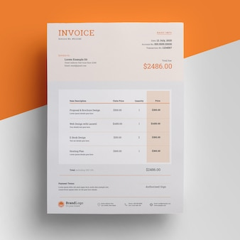 Modern invoice template with orange accent