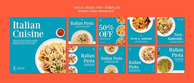 Post di social media ristorante italiano moderno