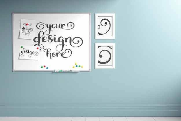 Modern kid's room with set of chair and desk, ladder leaning against the wall, wall mockup, 3d render