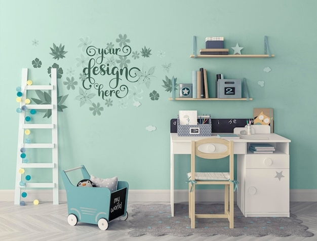 Modern kids room with set of chair and desk, ladder leaning against the wall mockup