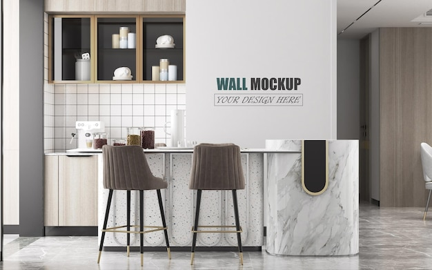 Modern kitchen counter and island wall mockup