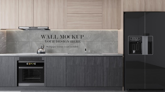 Modern kitchen surface wall mockup