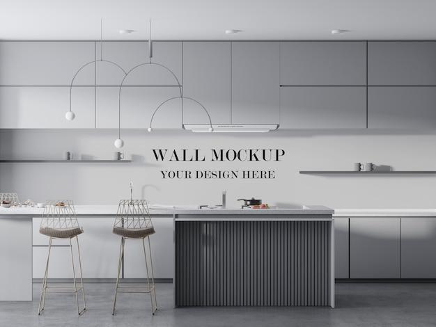 家具間のモダンなキッチンの壁のモックアップ