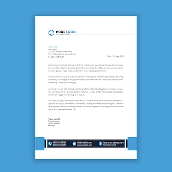 Modern letterhead template design with blue color