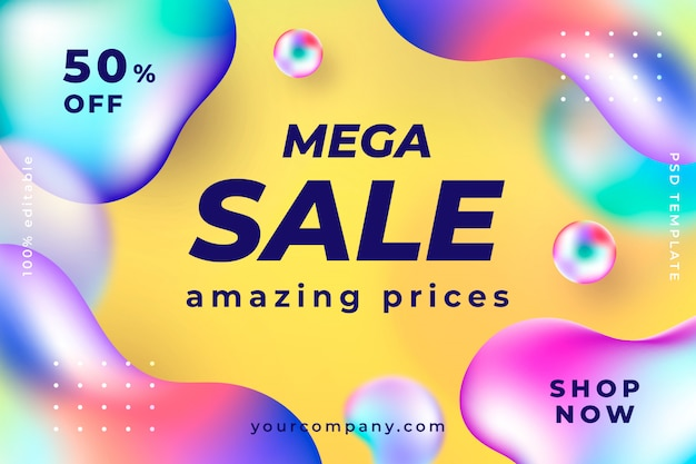 Modern liquid sale banner template