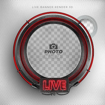 Modern live 3d realistic icon with neon and red and black grid