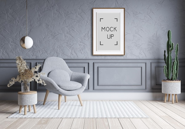 현대 거실과 로프트 인테리어 디자인. 콘크리트 벽 및 프레임 모형에 회색 소파. 3d 렌더링