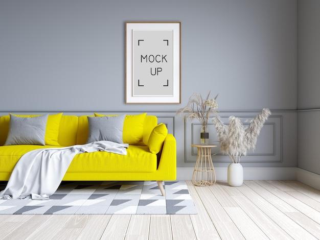 현대 거실과 다락방 인테리어 디자인. 회색 벽 및 프레임 모형 .3d 렌더링 노란색 소파