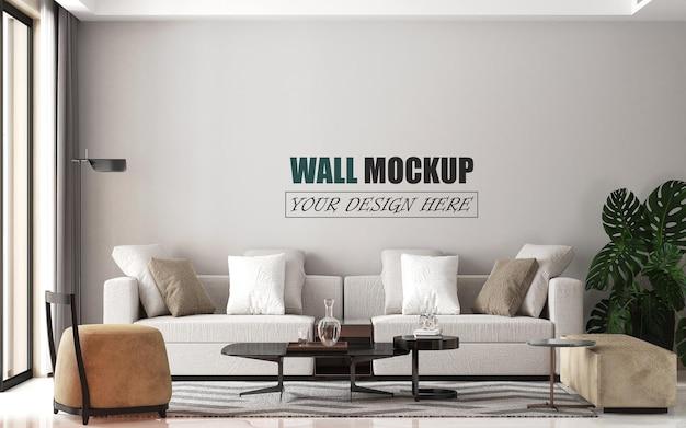 モダンなリビングルームの装飾壁のモックアップ