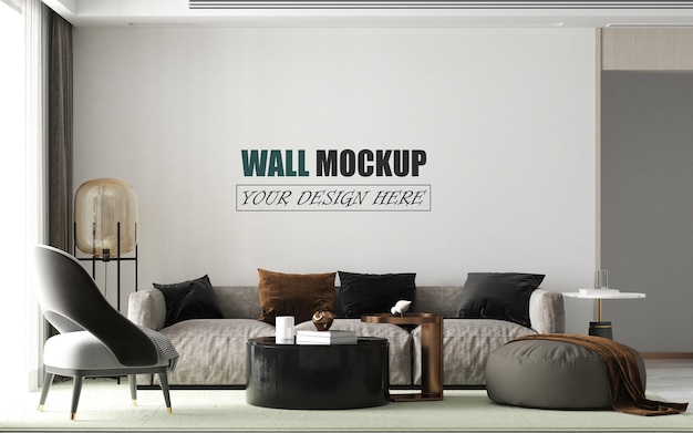 Modern living room decoration wall mockup