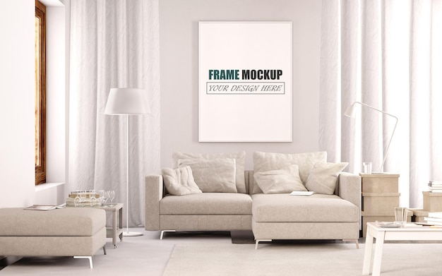 Modern living room design frame mockup