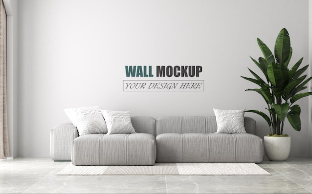 Modern living room design wall mockup