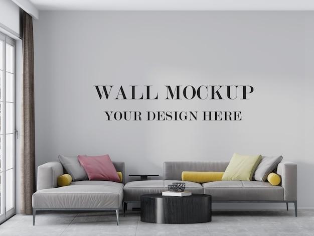 モダンなリビングルームの空の壁のモックアップ