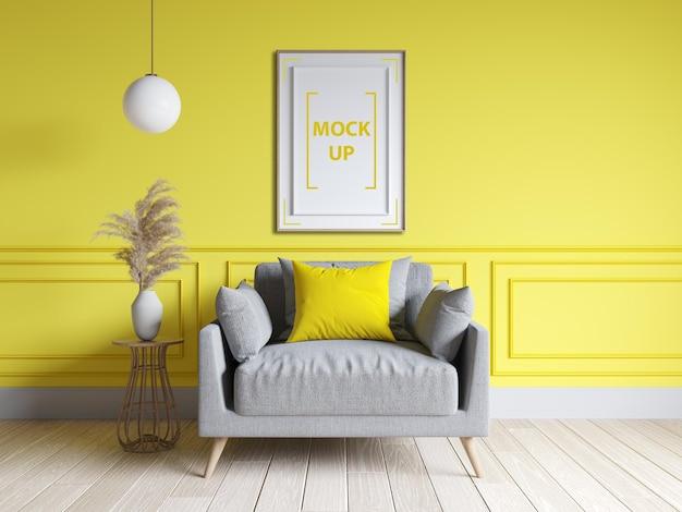 Modern living room interior design with frame mockup