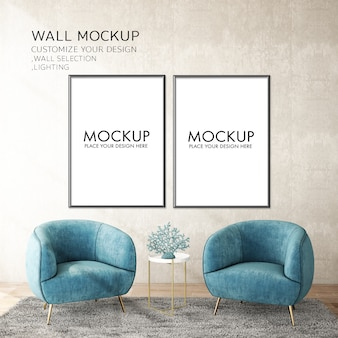 Modern living room interior design with wall mockup