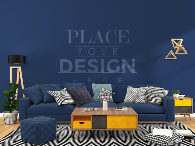 Modern living room interior wall mockup