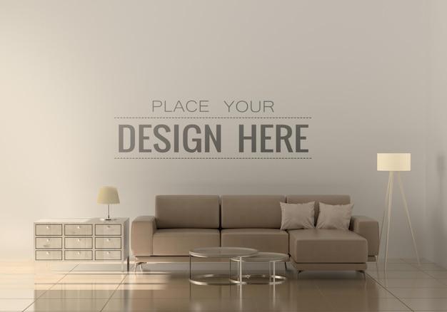 Modern living room interior wall mockup