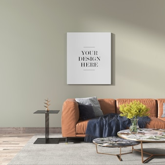 Modern living room wall canvas mockup with leather sofa