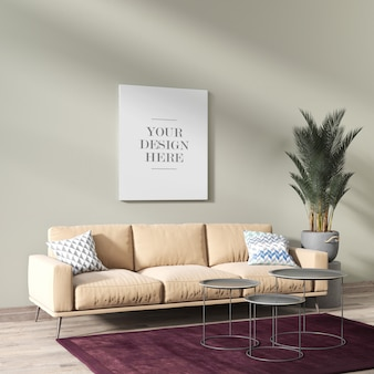 Modern living room wall canvas mockup with sofa and potted plant