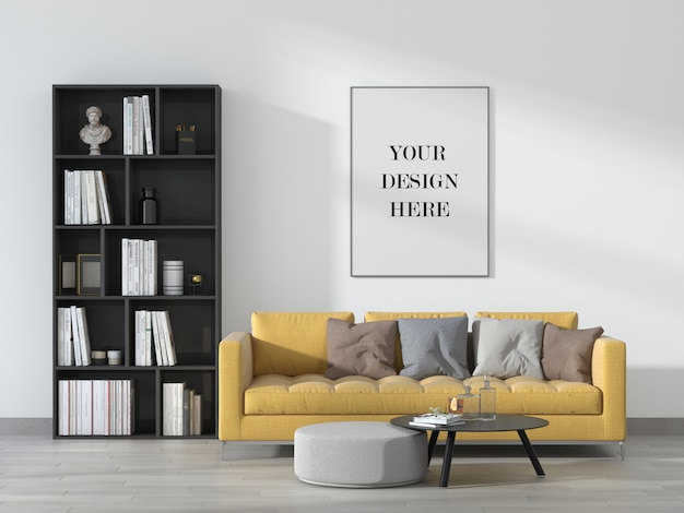 Modern living room wall frame mockup with sofa in interior