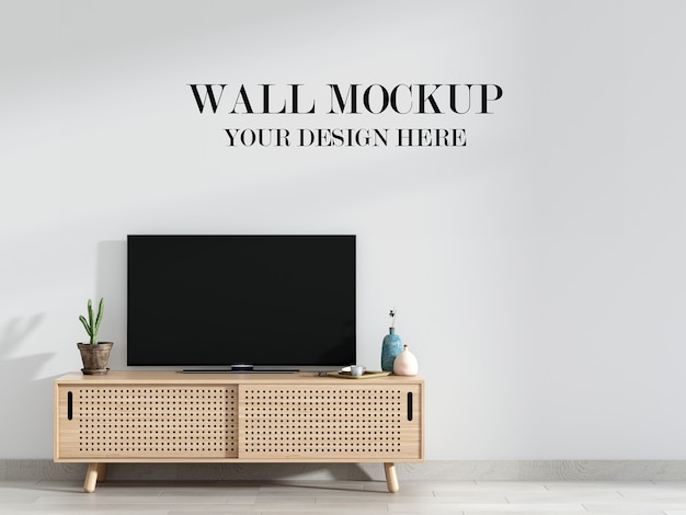 Modern living room wall mockup behind tv stand
