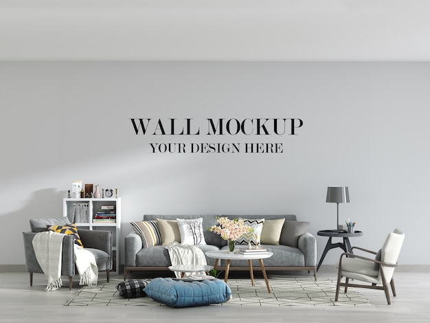 Modern living room wall mockup with furniture