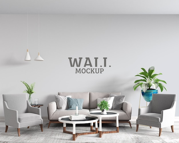 Modern living room wall mockup
