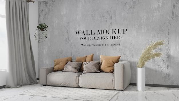 モダンなリビングルームの壁のモックアップ