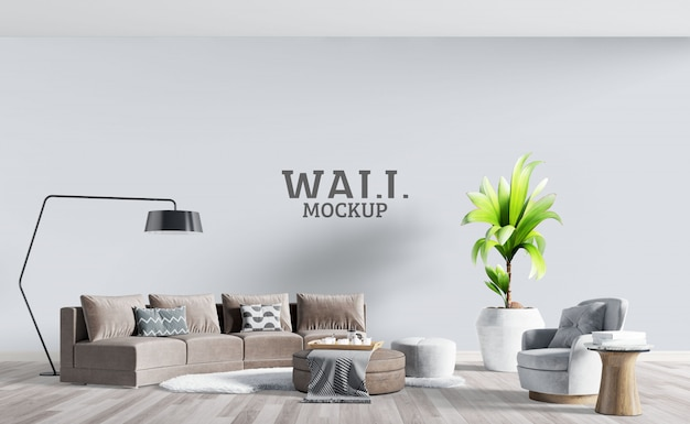 Modern living room with brown sofa. wall mockup