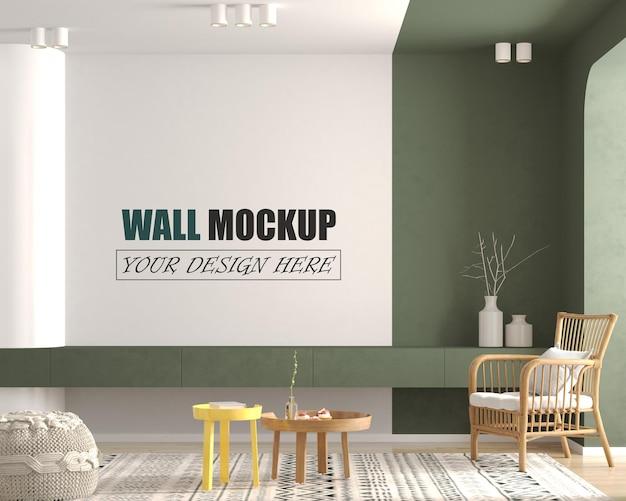 Современная гостиная с красочным декором стены макет