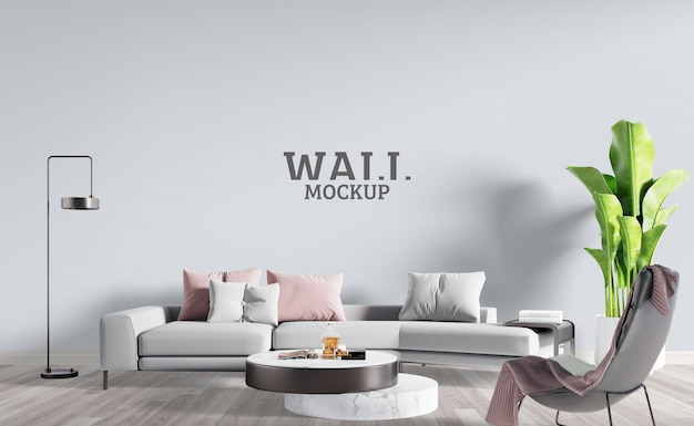 Modern living room with gray white sofa. wall mockup