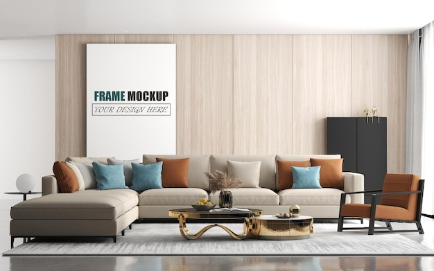 Modern living room with large sofa frame mockup