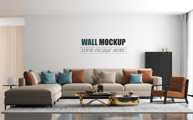 Modern living room with large sofa wall mockup