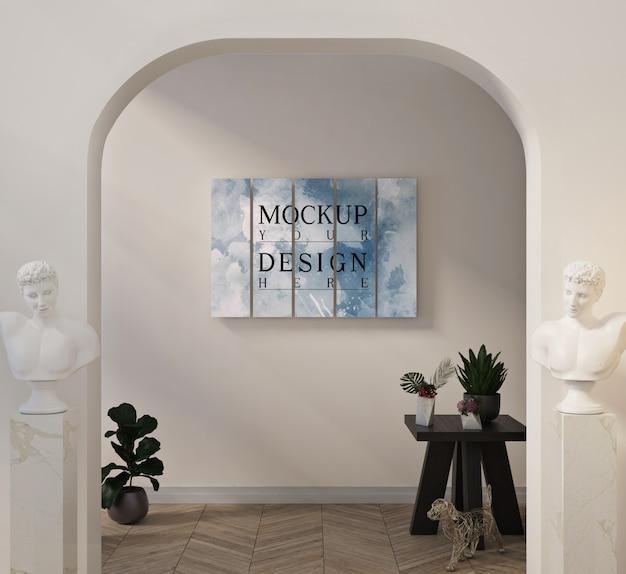 모형 포스터가있는 현대 거실
